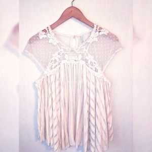 Free People Size M Cream Lace Top Blouse